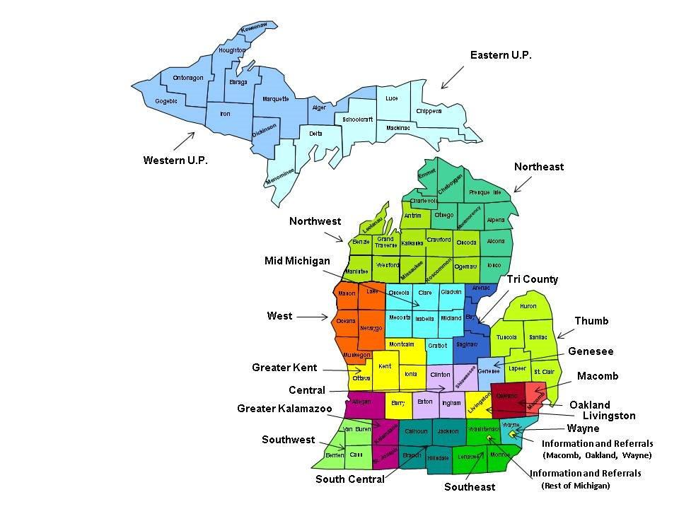 map of Michigan divided into regions, a long description of this map can be found at pacetesting.com/maf/maf-offices